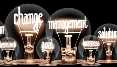 Lightbulbs with change management spelled out in the filaments