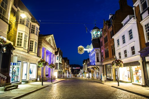 Guildford High Street at night