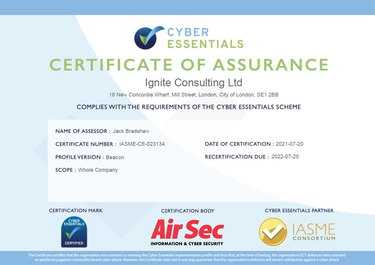Ignite Cyber Essentials Certificate 2021
